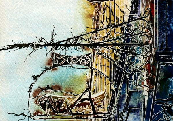 ©2015 - Cathy Read - Golden Locust - Watercolour and Acrylic -21 x 29.7 cm
