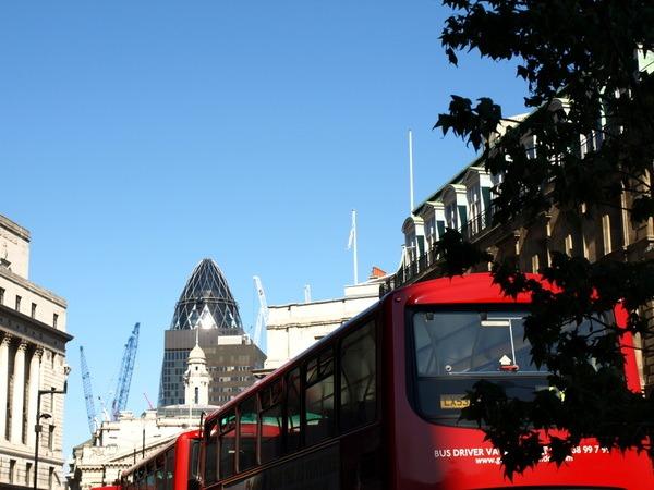 #Gherkin #Bus London Street ©2015-Cathy-Read-Bus-Queue-Digital-image