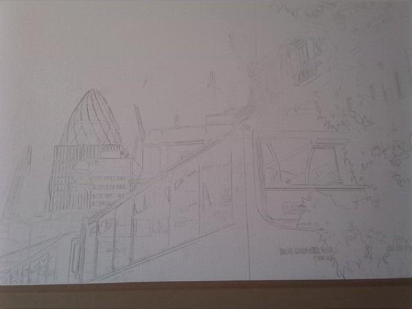 ©2015 - Cathy Read - Bus Queue Work in progress - pencil  - 55x75 cm