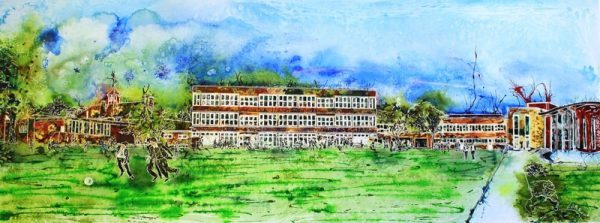 Painting of the Royal Latin School, Buckingham to commemorate the 600 year anniversary / Centenary. The paintings shows the progression of architecture from the oldest to the new Discovery Centre built to mark the event. Royal Latin School - Building on 600 years - ©2013-Cathy Read - Watercolour and Acrylic ink - 43 x 106cm = SOLD