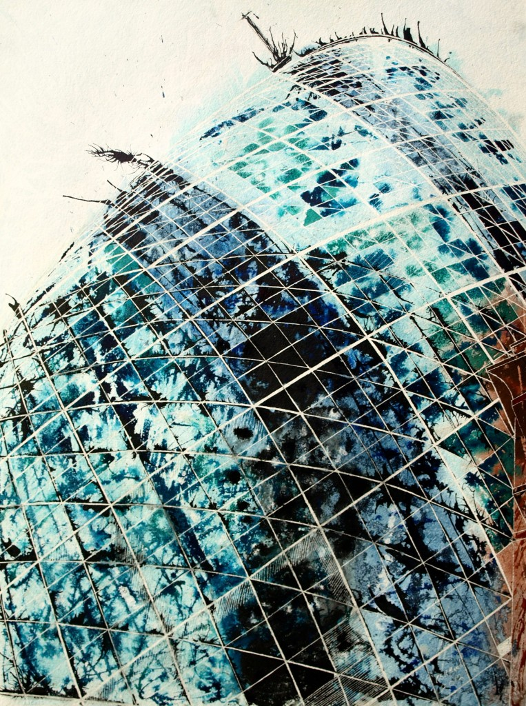 Painting of the Gherkin , Looking upwards and the curved glass architecture London©2012 - Cathy Read -Touching the sky - Mixed media-75x55cm