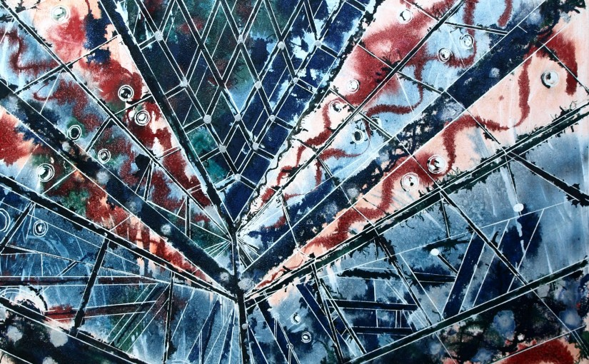 #GherkinPainting Painting of the #Gherkin in London #Interior #Entrance©2014 - Cathy Read - Gherkin Abstract- Watercolour and Acrylic on canvas - 102 x 81cm - £1500 Unframed