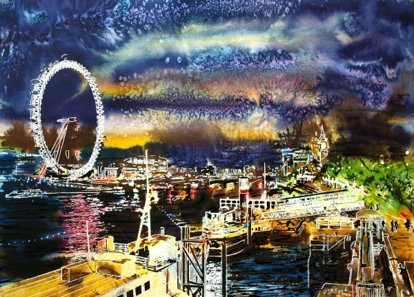 Painting of the Thames at night with boats, London Eye and Houses of Parliament showing Big Ben©2014 - Cathy Read - Goodnight Thames - Watercolour and Acrylic - 54x74 cm