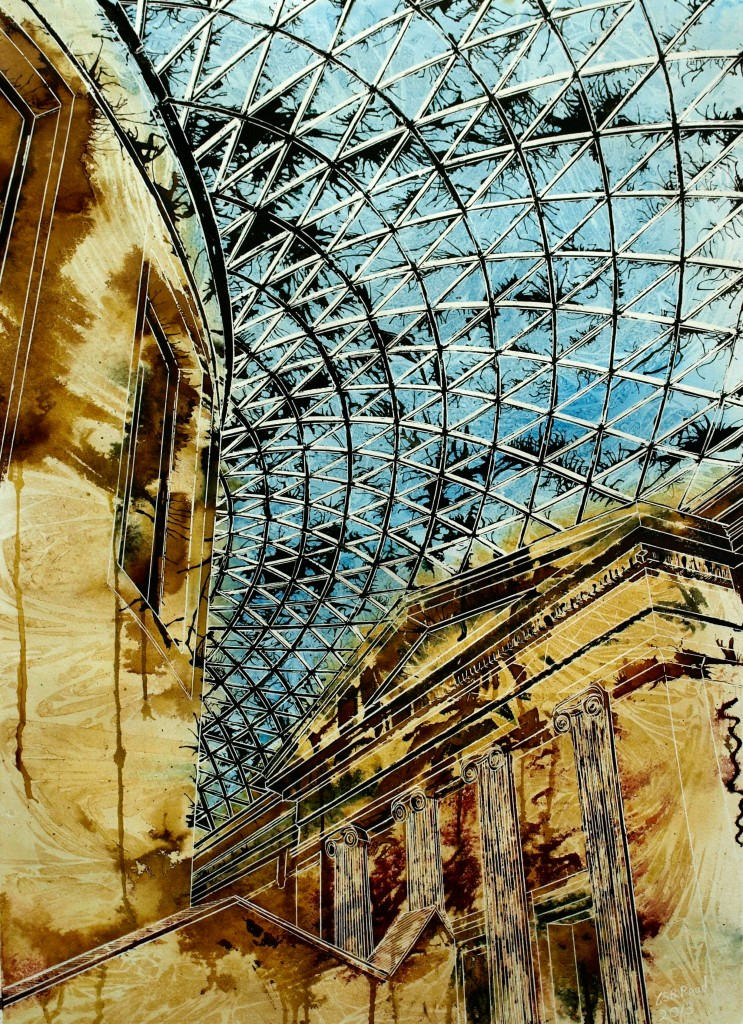 Painting of the Roof of the British Museum by Cathy Read Artist  british museum art