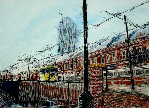 Painting of a tram coming into the tram stop by Manchester Central Station or GmexPiccadilly Bound - ©2015 - Cathy Read - Watercolour and Acrylic - 55 x 75cm