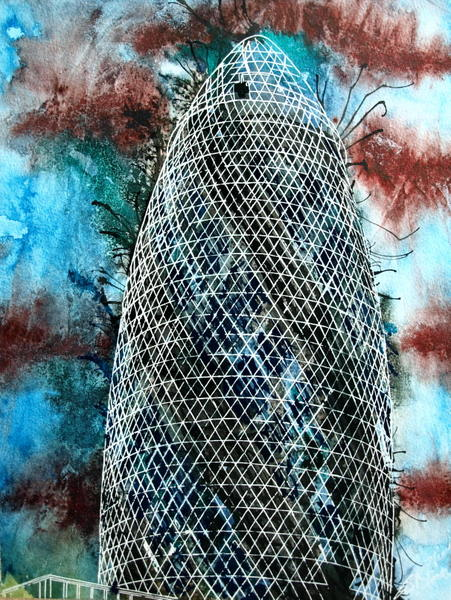 #GherkinPainting Painting of the #Gherkin in London ©2015 - Cathy Read - Gherkin- Watercolour and Acrylic ink - 40.5x30.5cm