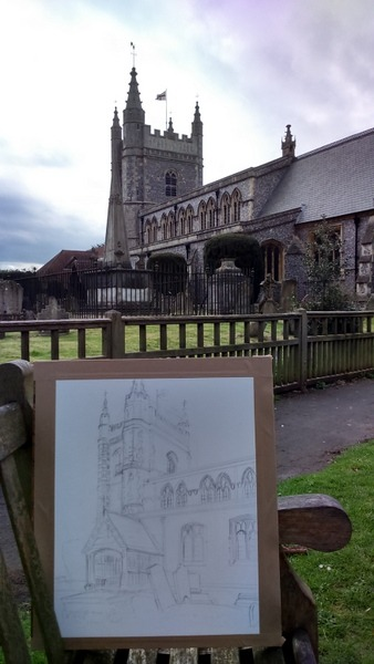 ©2016-Cathy Read- Beaconsfield Church Plein Air finished drawing- 50x40cm -600