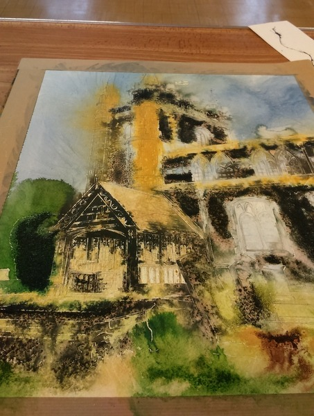 ©2016-Cathy Read- Beaconsfield Church WIP- 50x40cm - Watercolour and Acrylic ink -600