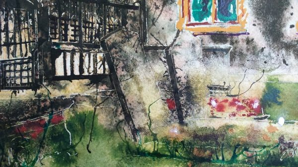 ©2016-Cathy Read- Beaconsfield Church WIP detail graves- 50x40cm - Watercolour and Acrylic ink