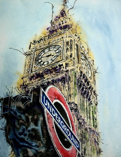 ©2016 - Cathy Read - London Icons Watercolour, acrylic ink and gold leaf - 75 x 55 cm -££1212