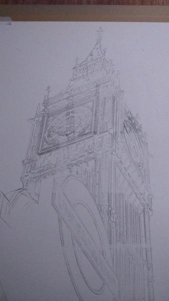 ©2016 - Cathy Read - Big Ben (Working title) Work in Progress detail - Graphite - 75 x 55 cm