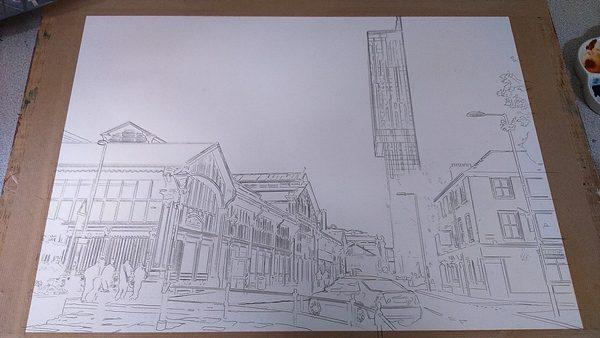 ©2016 - Cathy Read - Manchester Transport Museum Work in Progress - graphite - 43x59cm