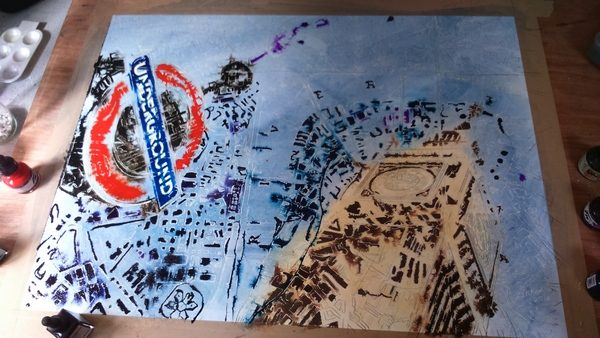 ©2016- Cathy Read-London Maps painting in progress painting -Watercolour and Acrylic