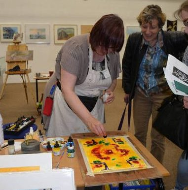 Supporting Artists To Create Art by attending events ©2015-cathy-read-mk-library-fanfare-cathy-read-demo
