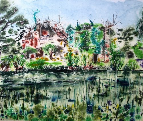 Finished Scotney Castle painting on Landscape-Artist-of-the-Year-Scotney-Castle-Painting- ©2016-Cathy Read-Watercolour-and-Acrylic