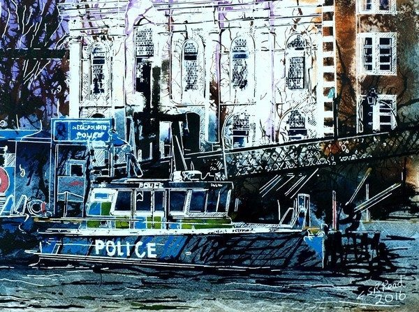 ©2016-Cathy-Read-Police-Boa-t-Watercolour-and-Acrylic-on-paper-