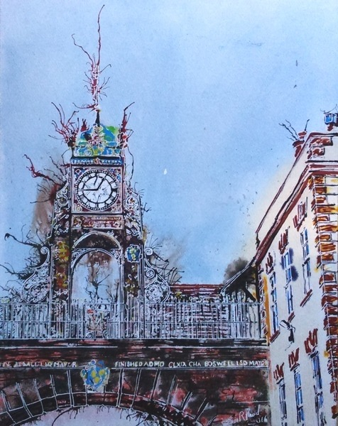 ©2016-Cathy Read- Chester Clock Tower- 50x40cm - Watercolour and Acrylic ink