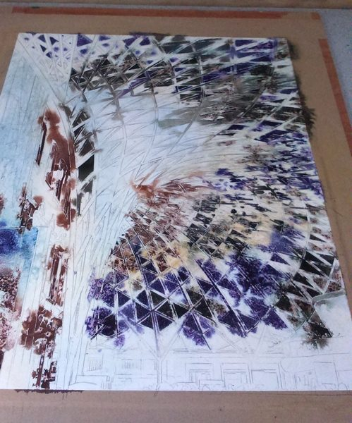 ©2016 - Cathy Read - Kings Cross detail work in progress - 1st paintingWatercolour and acrylic ink - 40 x 50 cm 600