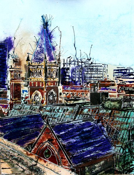 Painting of the rooftops of Manchester©2017-Cathy-Read-Manchester-Skyline-and-Court-Watercolour-and-Acrylic