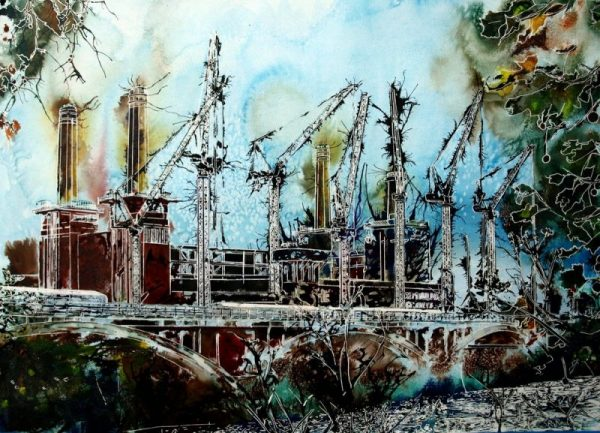 Battersea Power Station Painting©2015 - Cathy Read -Battersea Reborn - Watercolour and Acrylic - 55x75 cm