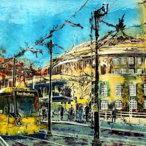 Manchester Central Library Print Painting of a tram stopped at a stop outside Central Library in Manchester. Stopping at Central Library - ©2015-Cathy-Read - Watercolour-and-Acrylic-55-x-75cm - SOLD