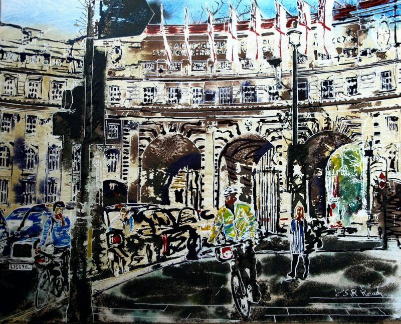 Painting of Admiralty Arch with cars, taxis, cyclists and pedestrians©2016-Cathy-Read-Admiralty-Arch-Watercolour-and-Acrylic-40-x-50-cm-£577