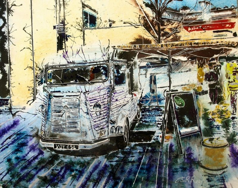 ©2016 - Cathy Read - H van cafe- Watercolour and Acrylic on paper -40 x 50 cm - £550