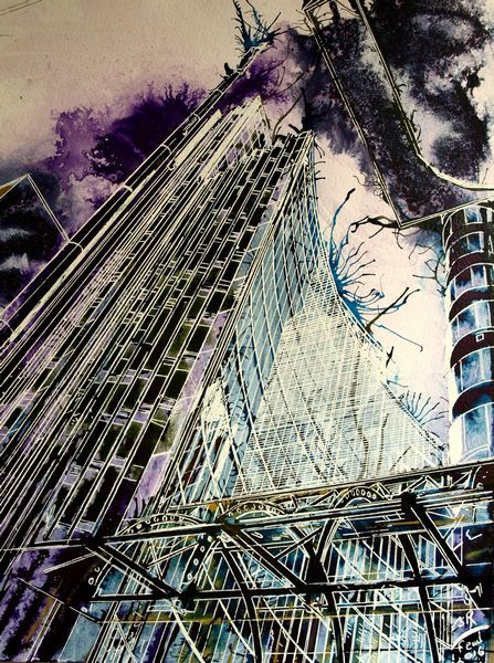 Painting of buildings off Fencurch Street, London. Architecture