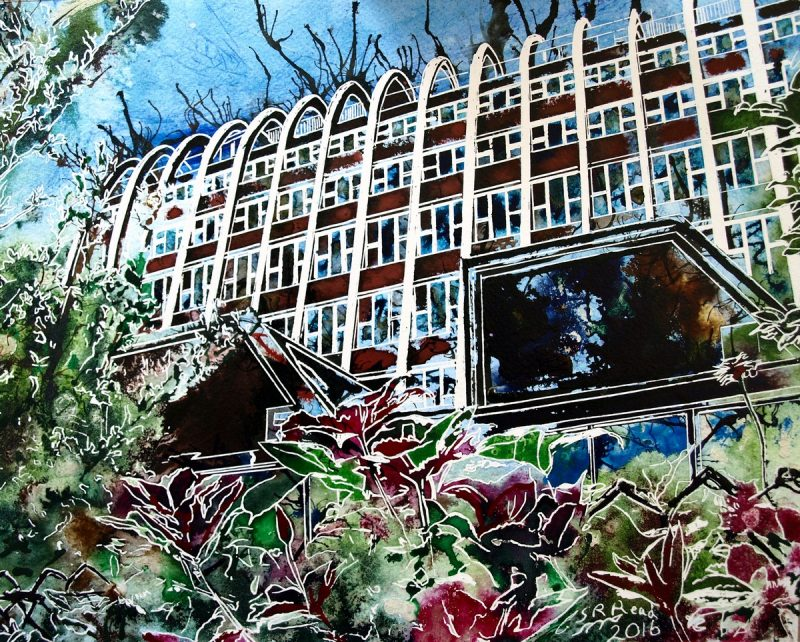 Painting of the Hollings building or Toast Rack in ManchesterToastrack - ©2016-Cathy-Read -Watercolour-and-acrylic-ink- SOLD