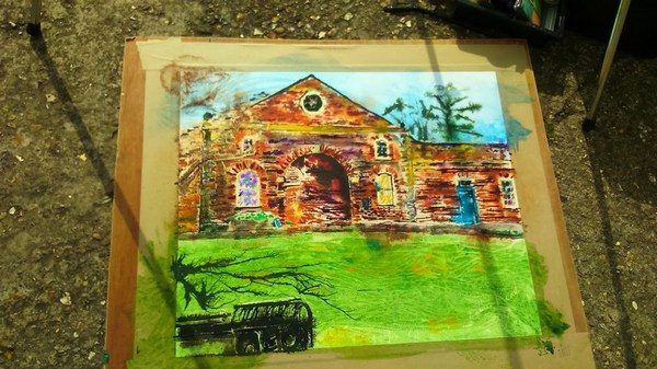 ©2017 - Cathy Read -Claydon House Courtyard WIP 2 -watercolour and acrylic ink - 40 x 50 cm