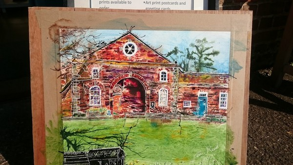 ©2017 - Cathy Read -Claydon House Courtyard -watercolour and acrylic ink - 40 x 50 cm 600