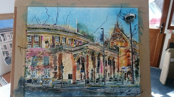©2017 - Cathy Read - Manchester Central Library - watecolour and acrylic ink