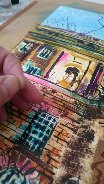 ©2017 - Cathy Read - Manchester Central Library - watecolour and acrylic ink - WIP detail 2