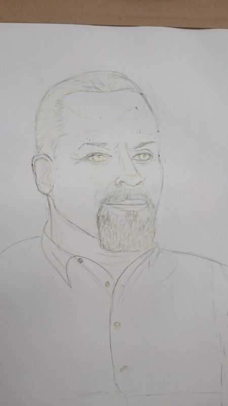 Gary Wilmot pencil drawing being masked - ©2017 Cathy Read - Brush with Fame