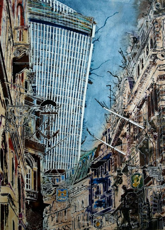 Painting of Lombard Street in London with Walkie Talkie in the backgroundAncient-Signs - Cathy-Read - ©2016 -Watercolour and Acrylic-76 x 56-cm
