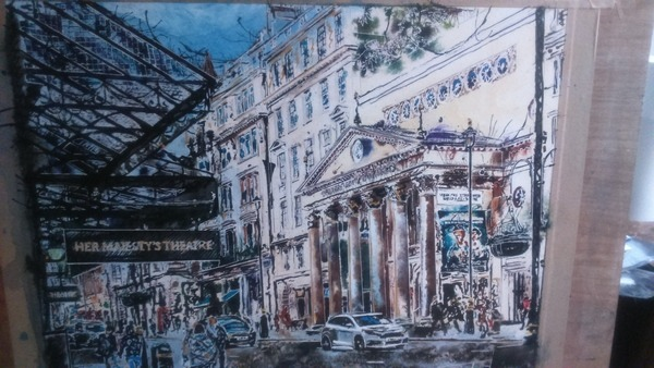 ©2017 - Cathy Read - Painting in progress, The Haymarket - Work in progress 3 watercolour and acrylic ink - 40 x 50 cm