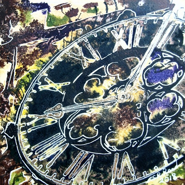 ©2018-Cathy-Read-1-Clock-Watercolour-and-Acrylic ink painting, Buckingham church