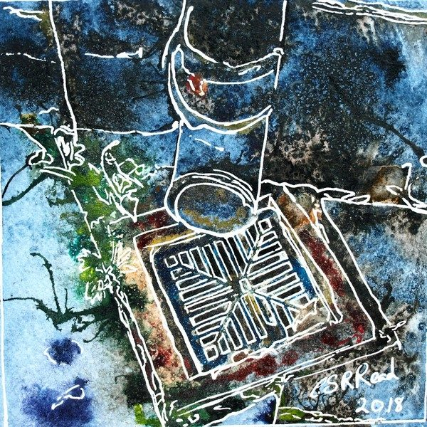 Painting of drain with plants growing in cracks Painting by Cathy Read, watercolour and acrylic ink
