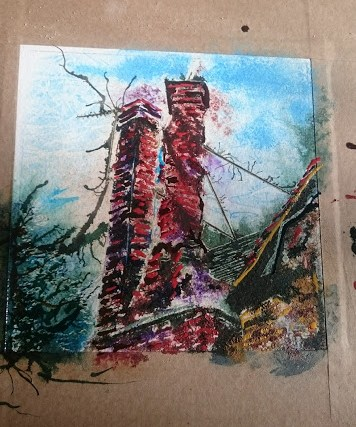 Painting in progress of the Twisted chimney, a brick chimney on the church Street Manor House in Buckingham