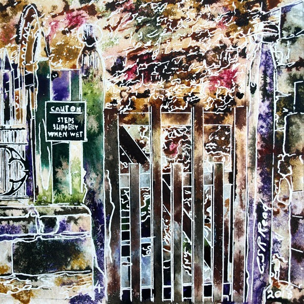 Chantry Gate Painting - ©2018 - Cathy Read - 4 of 4950 Series - Watercolour-and-Acrylic-17.8x17.8cm - SOLD .Painting of a wooden gate that leads to Chantry Chapel in Buckingham set against an old stone wall