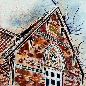 #Brickwork, #architecture. Gable end of Well Street Centre, formerly Well Street School n Buckingham. Painted in watercolour and acrylic ink on watercolour paper