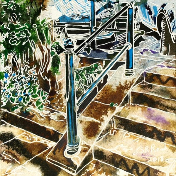 Handrail painting meditations. Painting of a handrail and steps. Hand Rail - ©2018 - Cathy Read - 16 of 4950 Series - Watercolour-and-Acrylic-17.8x17.8cm