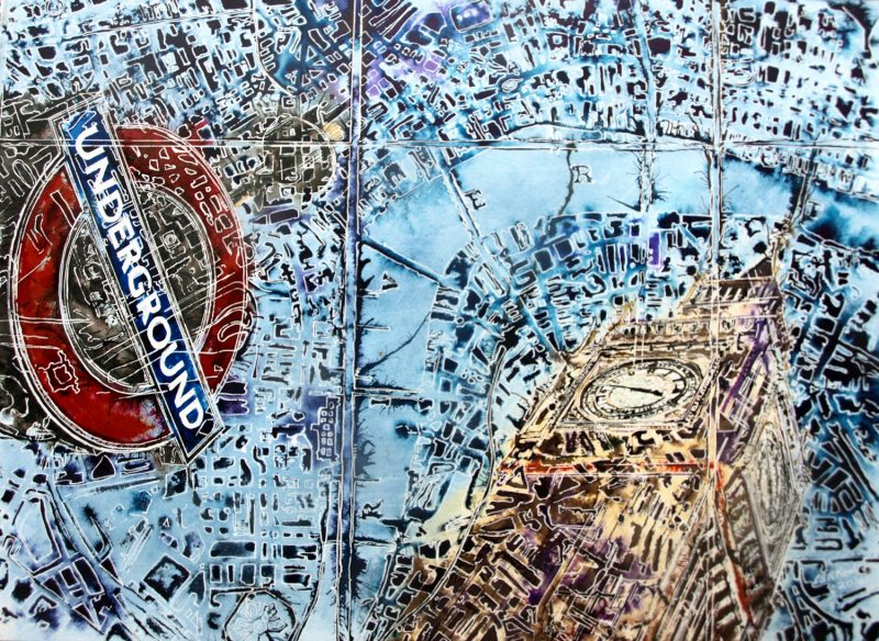 Abstract architectural painting of London underground sign and Elizabeth Tower, Big Ben, Houses of Parliament