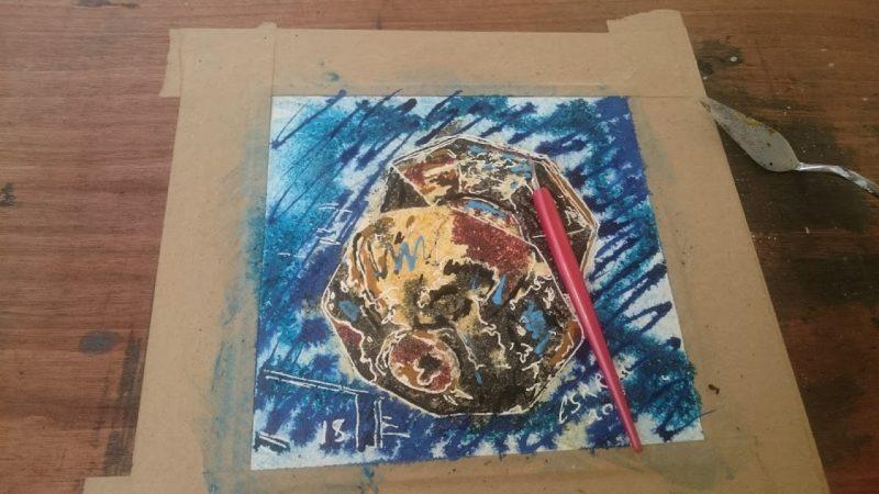 Painting of a brass doo knob. Well Street, Buckingham