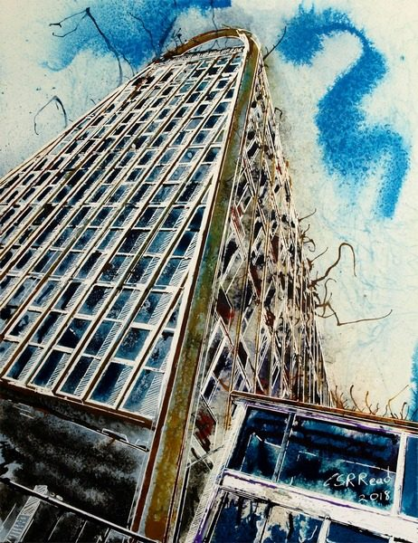 Painting of the Hollings building in Manchester - ©2018-Cathy-Read-Toastrack-Towers-Watercolour-and-acrylic-ink-