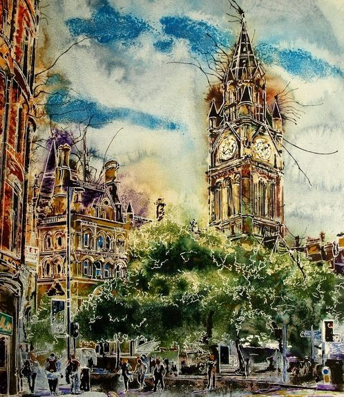 Painting of Albert Square in Manchester with the Town Hall and trees in the foreground. People wandering aroundAlbert-Square-Cathy-Read- 50x40cm-SOLD-©2018
