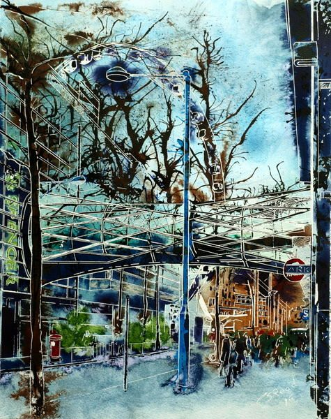 Corporation Street Bridge - ©2015 Cathy Read - Watercolour and acrylic ink - 40x50cm