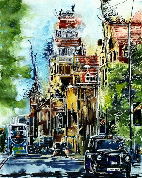 Painting of Manchester University Museum and a Taxi heading towards town on Oxford StreetThe Knowledge -©2016 Cathy Read - Watercolour and acrylic ink - 40x50cm