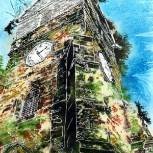 Wooden Tower of St Leonards - ©2015 Cathy Read - Watercolour and acrylic ink - 40x50cm