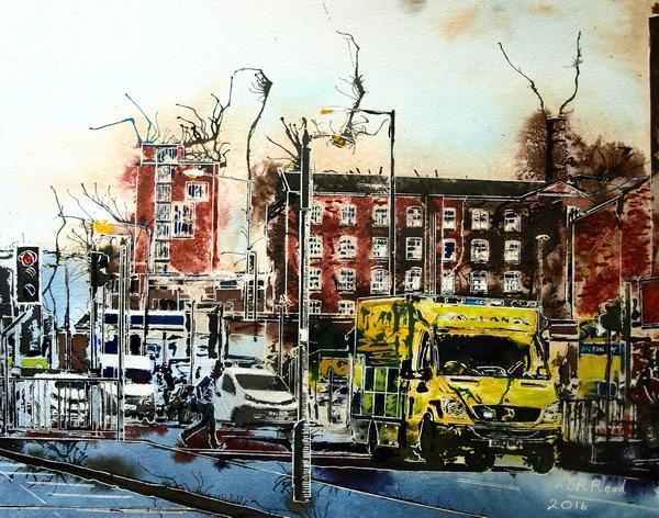 Emergency Run - ©2016 Cathy Read - Watercolour and acrylic ink - 40x50cm